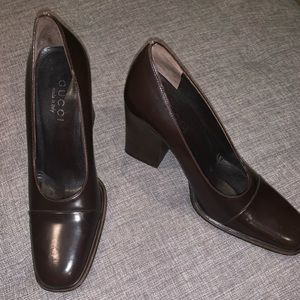 Leather GUCCI square toe pumps size 6B